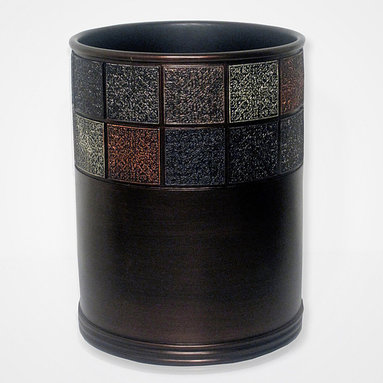 Grand Luxe - Tivoli Waste Basket - Add style to any room with these beautiful waste baskets by Tivoli. Constructed from durable resin in a metallic brown finish,each waste basket features a colorful tiled rim design that adds a touch of exotic style to your home or office.