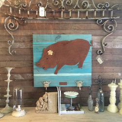 XL Farm Pig (rusted steel)on a turquoise wood frame - Made out of rusted steel, mounted on a painted reclaimed wood frame. Each piece is unique and will slightly vary from the picture depending on the wood's look.