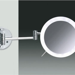Windisch - Wall Mounted Chrome or Gold One Face Lighted 3x or 5x Magnifying Mirror - One face magnifying mirror.