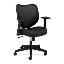 Rulers.com - basyx by HON VL551 Mid-Back Swivel/Tilt Chair, Fabric Seat, Mesh Back - Discover the comfort you need and the style you demand. This appealing mid-back work chair with mesh back and upholstered seat creates a sleek, professional look anywhere in the office. Simplified adjustments for comfort include a 2-to-1 synchro-tilt with tension control and lock, pneumatic seat height adjustment, adjustable-height arms, and 360-degree swivel.