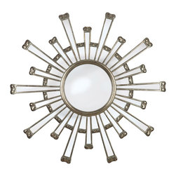 "Kenroy - Kenroy 60009 Cameron Framed Wall Mirror - As bold and beautiful as the sun, Cameron's eye catching design will add a huge style statement to your living room or master bedroom.  Overall Product Dimensions:  36 Inch Diameter Mirror Size:  11 Inch Diameter 1"" Beveled Silver Mirror"