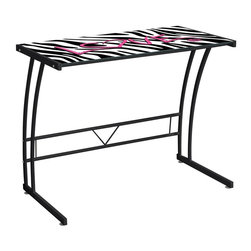 Lumisource - Zebra Patterned Sigma Desk - Hot pink lettering with black frame. Unique artistic print. Made from metal frame and tempered glass. Black and white color. Assembly required. 35 in. W x 20 in. D x 29.5 in. H (27 lbs.)The Zebra Love Expression Collection Desk features a unique artistic print to give your office or dorm room a unique look!.