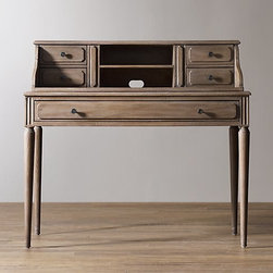 Marcelle Writing Desk and Hutch, Antiqued Gray - This desk is a classic and beautifully distressed piece from Restoration Hardware.