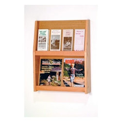 4 Magazine/8 Brochure Wall Display - A versatile way to keep your advertising brochures and reading materials in order. Sealed in a durable state-of-the-art finish this display unit is available in a variety of stain colors. It's constructed with solid oak sides and an oak veneer back. It has a slanted back shelf that gives you a full view of the literature while keeping it neat and organized. Removable dividers allow you to display smaller brochure-size literature as well as oversized reading materials like newspapers. This display is predrilled and includes hardware for simple wall mounting. Use in a retail store restaurant or office! About Wooden MalletFor over 20 years Wooden Mallet has been turning Northern Red Oak into beautiful and functional American-made wood products for commercial and residential settings. Wooden Mallet manufactures and distributes various styles of magazine and brochure display racks chart holders luggage racks coat and hat racks and reception chairs and tables crafted from solid oak sides and components. In addition to a technological manufacturing process Wooden Mallet also employs a unique finishing process using ultraviolet light to cure the finish into the wood for a more durable lasting finish. This process meets the emission standards set by the Environment Protection Agency. For the past 10 years Wooden Mallet has ranked consistently in the top 100 of the Wood & Wood Products Wood 100 Annual Report for Solid Wood and Panel Technology.
