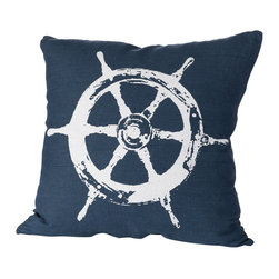 Cricket Radio - Montauk Wheel Pillow, Navy/White - Style's ahoy when you add this jaunty pillow to your sofa, chair or bench. It's hand-printed using ecofriendly inks on Italian linen, comes in your choice of colors and features a removable down insert for easy cleaning. Steer your decorating in a nautical direction.