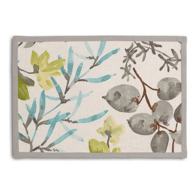 Aqua & Gray Watercolor Floral Tailored Placemat Set - Class up your table's act with a set of Tailored Placemats finished with a contemporary contrast border. So pretty you'll want to leave them out well beyond dinner time! We love it in this gray, aqua & spring green watercolor floral. your room will be awash with color & class.