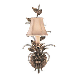 Fine Art Lamps - A Midsummer Nights Dream Sconce, 161550ST - Lavish your space with the soft light and pure fantasy of this unusual wall sconce. Moon-dusted crystals rise from silvery foliage, adorning a hand-sewn silk shantung shade.