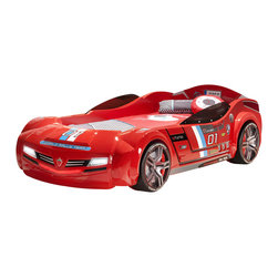"""Cilek - Turbo Car Bed with mattress, Red, Twin - Ever dreamed of owning a European Super Car, now you can dream in one. Brought about with the latest innovations in children's furniture from Cilek. Our """"Need for Sleep"""" line will make your child stand out with their own super car in their bedroom."""