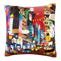 Custom Photo Factory - Busy City Color Collage Pillow.  Polyester Velour Throw Pillow - Busy City Color Collage Pillow. 18 Inches x 18  Inches.  Made in Los Angeles, CA, Set includes: One (1) pillow. Pattern: Full color dye sublimation art print. Cover closure: Concealed zipper. Cover materials: 100-percent polyester velour. Fill materials: Non-allergenic 100-percent polyester. Pillow shape: Square. Dimensions: 18.45 inches wide x 18.45 inches long. Care instructions: Machine washable