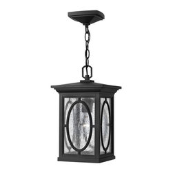 Hinkley Lighting - 1492BK Randolph Outdoor Hanging Lantern, Black, Clear Panels and Etched Glass - Traditional Outdoor Hanging Lantern in Black with Clear Seedy Panels and Etched Seedy Panels glass from the Randolph Collection by Hinkley Lighting.