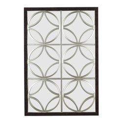 Kenroy - Kenroy Gable Wall Rectangular Mirror X-61006 - From the Gable Collection, this Kenroy Home rectangular wall mirror features layered circles that create a unique geometric pattern over top of the mirror. The trellis pattern of this contemporary mirror is finished in Silver and framed in Walnut, adding a touch of warmth to this eye-catching design.