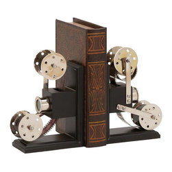 """Benzara - The Cinema Wood Metal Book End Pair - Are you an avid reader? Do you have more books in your home than you can properly organize? Well, what you need is this wood metal book end. With this you can properly place all the books on your shelf. No more will the books fall off; just organize your books in you preferred order and then place these book ends on each side. It also has a film reel theme; this means that it will add a different and unique touch to you ambience. Additionally, it has been made with quality materials; this ensures that it will last with you for years to come. All who see it certainly will be impressed. Perfect for the modern home; it can also make a great gift. So why wait? Consider getting this amazing book end today. Wood metal book end dimensions: 6 inches (W) x 3 inches (D) x 9 inches (H); Book end color: Black, silver; Made from: Wood, metal; Dimensions: 37""""L x 18""""W x 21""""H"""
