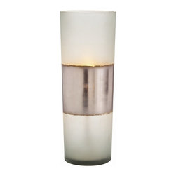 Arteriors - Jasper Lantern - Frosted translucent glass cylinder banded with hand applied silver leaf becomes a shimmering, glowing source of light on any shelf or table top.