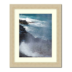 """Frames By Mail - Wall Picture Frame Champaign Ribbed finish with a white acid-free matte, 8x10 - This 8X10 champaign ribbed frame is imported from Italy.  The frame is 2.25"""" wide with a white matte, for a 5X7 picture, can be removed to accommodate a larger picture.  The frame includes regular plexi-glass (.098 thickness) foam core backing and can hang either horizontal or vertical."""