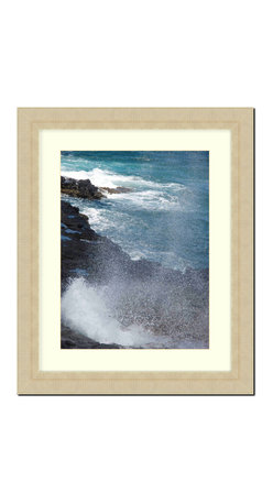 "Frames By Mail - Wall Picture Frame Champaign Ribbed finish with a white acid-free matte, 8x10 - This 8X10 champaign ribbed frame is imported from Italy.  The frame is 2.25"" wide with a white matte, for a 5X7 picture, can be removed to accommodate a larger picture.  The frame includes regular plexi-glass (.098 thickness) foam core backing and can hang either horizontal or vertical."