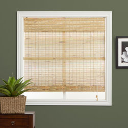 None - Petite Rustique Bamboo 98-inch Long Roman Shade - Update your home or office decor with the warm and appealing touch of a Roman shadeRoman blinds are carefully woven to filter the light inWindow treatment is made with real bamboo and other environmentally friendly materials