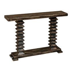 "Joshua Marshal - Distressed Wood Ridge 48""W Mango Wood Console Table - Distressed Wood Ridge 48""W Mango Wood Console Table"