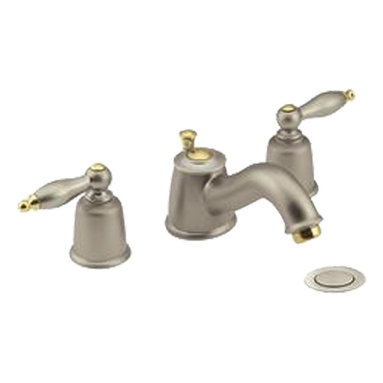 """Moen - Moen T4933ST Castleby Satine/Polished Brass Two-Handle Low Arc Roman Tub Faucet - This Castleby Low Arc Roman Tub Faucet features two lever handles for precise volume and temperature control, a 6"""" spout reach, adjustable 8"""" to 16"""" centers, and a design that corresponds with the MPACT valve system. This model features a beautiful, Satine finish with Polished Brass accents."""