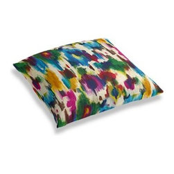 Jewel Tone Dappled Watercolor Custom Floor Pillow - A couch overflowing with friends is a great problem to have.  But don't just sit there: grab a Simple Floor Pillow.  Pile em up for maximum snugging or set around the coffee table for a casual dinner party. We love it in this super hot abstract watercolor linen in multicolor jewel tones.  A modern masterpiece for the artist at heart.
