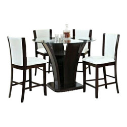 """Asia Direct - 5-Piece Espresso Wood Finish Counter Height Round Table Set Tempered Glass Top - 5-piece espresso wood finish counter height round table set tempered glass top. Counter height dining table set measures: 48"""" Dia x 8MM x 36.75""""H, and (4) white upholstered counter height chair and espresso trim measures: 17.5""""x 19""""x 41.5""""H. Optional sideboard available for additional cost. Some assembly may be required."""