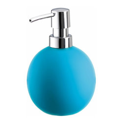 Colorful Round Non Skid Countertop Soap Dispenser - 15oz, Turquoise - Colorful round non skid countertop soap dispenser is perfect for any bathroom or even next to the kitchen sink. Beautiful porcelain soap dispenser with a grippy non slip coating holds 15oz of lotion or soap with a shiny chrome pump. Made in Germany.