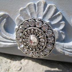 Amazing Round Drawer Knobs with Swarovski Crystals by DaRosa Children's Art - This Swarovski knob is one of a kind!