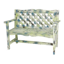 Oriental Furniture - Distressed Lattice Garden Bench - European design garden bench with a hand-crafted trellis style back lattice and wood slat seat. All-wood frame features carved top rail and apron, curved arm rests, and wide block feet. Finished in a rustic distressed medley of spring green, sky blue, and cloudy white, just the colors for a peaceful garden or green room.