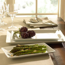 Great White Rectangular Serving Platters - You'll need some serving platters to plate up all that delicious food you and your loved one will be cooking. These rectangular ones are great. The white color matches any table color palette, and their stacking ability makes for easy storage.