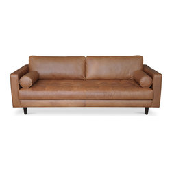 Bryght - Sven Charme Tan Sofa - A trendy update on a classic design, the Sven sofa with its tufted bench seat draws inspiration from the mid century era. Each hide used for upholstery is as unique as a finger print. Natural color variations, wrinkles and creases are part of the unique characteristics of genuine leather.