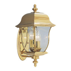 "Gladiator 8"" Wall Lantern Solid Brass - 8 inches Wall LanternConstructed of stainless steel/solid brass PVD coated to protect from outdoor elements3 candelabra base lamps,each 60 W. Max."