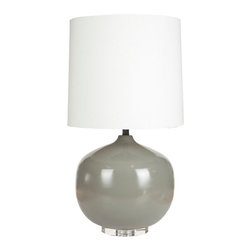 Stormy Gray Table Lamp - The rounded seed shape of this lamp makes it a stylish winner for reading at the table or by the bedside. Whether you have it on or off, its shapely outline and smooth gray finish make it a sleek, trendy choice for a modern room.