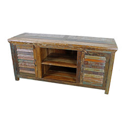Mexicali Plasma TV Stand - Mexicali Rustic Wood TV Stand. Heavy, Recycled Wood is used throughout Every piece in the Mexicali Furniture Collection. Refined rustic charm meets Old World Style. Each piece is as beautiful as it is unique. While no two items are ever identical, subtle variations in color and wood grain ensure that Every piece is part of the conversation. Dimensions: 60'' l x 27. 5'' h x 20'' w Middle Shelf Dimensions: 20'' l x 9'' h x 19'' w Closed Cabinet Shelf Dimensions: 18'' l x 9'' h x 17. 5'' w
