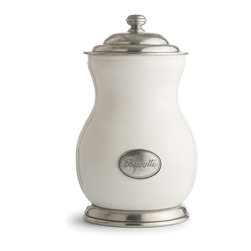 """Arte Italica - Tuscan Biscotti Canister - You've done the """"rise"""" part to your morning, now here comes the """"shine."""" Reach into this shapely canister and lift out a biscotti biscuit to go along with your coffee. You made it that far — you deserve a treat."""