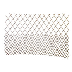 "Master Garden Products - Set of 2 Pcs Peeled Willow Middle Open Pattern Lattice Trellis Fence,72""L x 48""H - These fences are made of peeled skinless willow sticks, light mahogany in color, carbonized finished for outdoor use.  The middle open pattern may be set up vertically or horizontally to create different designs indoors and outdoors.  With wood post support you can use these expandable fences  as a vegetable wall, vine climbing support, or simply as an ornamental backdrop in your outdoor setup. We recommend putting a coat of linseed oil or outdoor sealer to preserve the product in the outdoors.  Can be stained with your own color."
