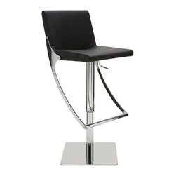 "Nuevo Living - Swing Adjustable Bar Stool, Black - Swing Adjustable Bar Stool features full 360 degree swivel for optimum flexibility in use and a gas lift mechanism so you can adjust your designed height from 20.5"" to 30.5"". The seat is made of leather upholstery and CFS foam, which is both comfortable and luxurious. The polished stainless steel base of Swing barstool is built for years of dependable use. The modern design makes the stool very versatile and offers height adjustability so you can use it just about anywhere."