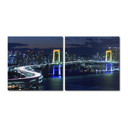 Baxton Studio - Baxton Studio Urban Pulse Mounted Photography Print Diptych - From the towering skyscrapers to a curving bridge, the city teems with life at night. Made in China with MDF wood frames, this two-piece modern wall art set features an image split in half and printed on two waterproof vinyl canvases. The Urban Pulse Diptych is made in China and is fully assembled. Hardware for hanging on the wall of your choice is not supplied. To clean, wipe with a dry cloth.