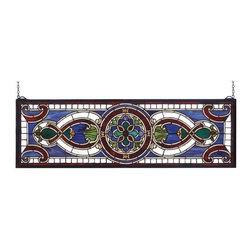 "Meyda Tiffany - Meyda Tiffany 77907 Stained Glass Tiffany Window Transom Windows Collec - 35"" W X 11"" H Evelyn In Lapis Transom Window513 Pieces Of Hand Cut Stained Glass And 10 Jewels Are Used To Make This Elegant Transom Window, Featuring A Floral Medallion Flanked With TranslucentIncludes Mounting Brackets and Chains"