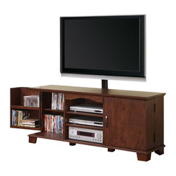 Walker Edison - Walker Edison 60 in. Wood TV Console with Mount in Traditional Brown - Walker Edison - TV Stands - W60C73MBMT - Elegance and function combine to give this contemporary wood TV stand a striking appearance. The design creates a stylish modern look crafted from high-grade MDF and durable laminate. Console includes an upright TV mount that will accommodate most flat-panel TVs up to 65 in. Three levels of center shelving provide ample space for A/V components and interior doors hold approximately 215 DVDs or Blu-ray discs.