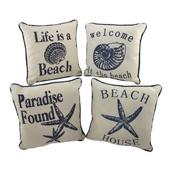 Zeckos - Set of 4 Nautical Seashell Beach Themed Accent Pillows 10 In. - This set of 4 accent pillows is perfect for your beach house, or for a guest room with beach or nautical themed decor. Each pillow is made of a beige woven fabric and features a beach saying, a seashell, and navy blue piping around the edges. They measure 10 inches by 10 inches, and are 80% polyester, 20% cotton. They look great on a guest bed, or on couches and chairs, and the colors are sure to complement most decor.