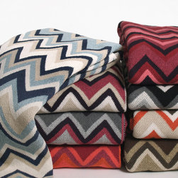In2green ZigZag Eco Knit Throw - This modern ZigZag designed throw is knit with a blend of recycled cotton yarn and made in the USA.