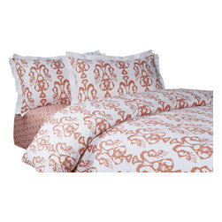 Jennifer Taylor Home - Bali Coral 3-Piece Duvet Set - Bali Coral 3 PCS Queen Duvet Set