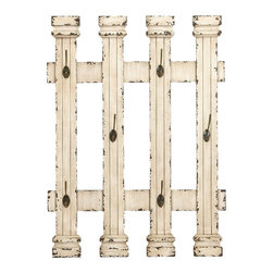 Woodland Imports - Rustic Antique Fence Vintage Beige 6 Hooks Home Accent Wall Decor 34866 - Rustic antique style fence design with a vintage weathered beige finish and 6 hooks home accent wall decor