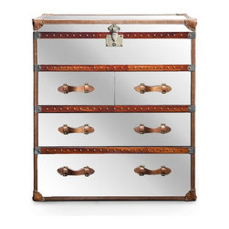 Maxfield Dresser, Brown - A dresser like this that looks like a trunk can be used in the guest room.