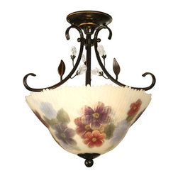 Dale Tiffany - Dale Tiffany Cosmos Hand Painted Semi Flush Mount - TH10492 - Shade Material: Hand Painted Glass