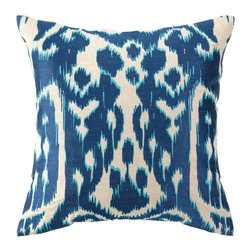 """Trina Turk - Trina Turk Ojai Blue Embroidered Pillow - Inspired by colorful and vibrant fashion design, Trina Turk infuses home de��_cor with Palm Springs chic. The Ojai throw pillow lends texture and depth with its deep blue ikat print. 20""""W x 20""""H; 100% linen; Embroidered in navy and aqua blue; Handcrafted; Includes 95/5 feather down pillow insert; Dry clean only"""