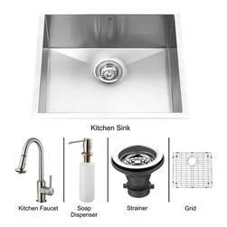 Vigo - Vigo Undermount Stainless Steel Kitchen Sink, Faucet, Grid, Strainer and Dispen - Vigo keeps your needs in mind when it comes to kitchen essentials.