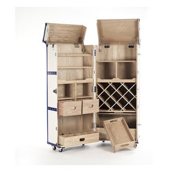 """Zentique - Sinclair Foldable Wine Cabinet by Zentique - Impressive before it is even opened! Cream colored vinyl impeccably adheres to a solid ash wood portable wine station. Casters allow the parting of doors revealing a organizational masterpiece of richly grained ash wood sections. Carefully thought out and ideally designed to maximize convenience when serving beverages. Who says there is not enough room for a bar? (ZEN)24.75"""" wide x 60.25"""" high x 23.5"""" deep"""