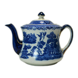 Lavish Shoestring - Consigned Porcelain Teapot in Blue & White by S Hancock & Sons, Vintage English - This is a vintage one-of-a-kind item.