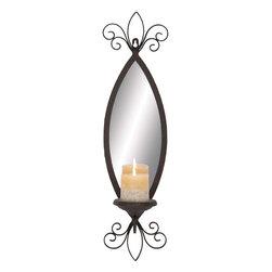 "Benzara - Mirror Candle Sconce with Secure Loop and Swirl accents - This elegant Metal Mirror Candle Sconce flaunts a classic design, which is sure to revamp the appeal of interiors. Featuring a spindle-shaped design, this sconce is detailed with graceful swirl accents, which add to the visual appeal. Mirror inlay on the sconce enhances the visual appeal and lends a unique, attractive look to the design. This attractive sconce also features a conical perch to hold the candle and is provided with a secure loop for easy installation on walls. The sconce is detailed with a weathered finish adds a touch of classic, old-world charm to settings. Crafted from metal, this sconce is designed for durability and offers lasting, hassle-free usage. This is a wonderful gifting option for you to present your beloved with on special occasions like wedding anniversary or housewarming function.; Flaunts a classic design; Secure loop for easy installation on walls; Detailed with graceful swirl accents; Unique, attractive look; Weight: 2.84 lbs; Dimensions:7""W x 6""D x 25""H"