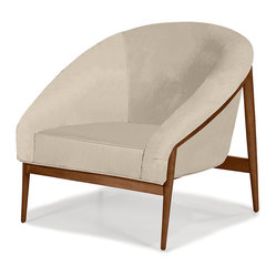 Younger - Rose Chair - It may have a semicircular shape, but the design of this chic and cozy chair doesn't do anything halfway. First, you get double-padded arms and back that offer full-on comfort. Then, there's the beautiful contrast of a curvy shape with the exposed hardwood frame and long tapered legs. No halfsies here!